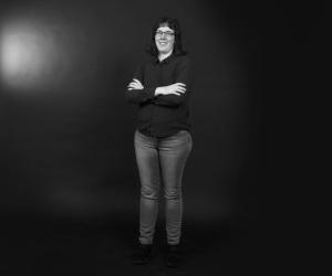 Lena Petersson. Högupplöst bild. Svartvit. Foto: Per-Åke Roos, Rapps Foto.